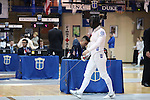 12 February 2017: UNC's Justine de Grasse during Epee. The Duke University Blue Devils hosted the University of North Carolina Tar Heels at Card Gym in Durham, North Carolina in a 2017 College Women's Fencing match. Duke won the dual match 14-13 overall and 7-2 in Epee. UNC won Foil 6-3 and Saber 5-4.