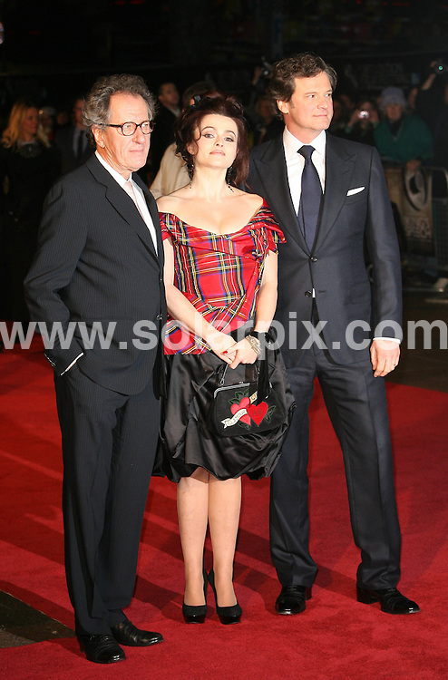**ALL ROUND PICTURES FROM SOLARPIX.COM**                                             **WORLDWIDE SYNDICATION RIGHTS**                                                                                  Caption: attends the American Express Gala Screening of The King's Speech during the 54th BFI London Film Festival at the Odeon Leicester Square, London, UK. 21 October 2010                                                                              This pic: Geoffrey Rush, Helena Bonham Carter and Colin Firth                                                                                         JOB REF: 12356 LNJ       DATE: 21_10_2010                                                          **MUST CREDIT SOLARPIX.COM OR DOUBLE FEE WILL BE CHARGED**                                                                      **MUST AGREE FEE BEFORE ONLINE USAGE**                               **CALL US ON: +34 952 811 768 or LOW RATE FROM UK 0844 617 7637**