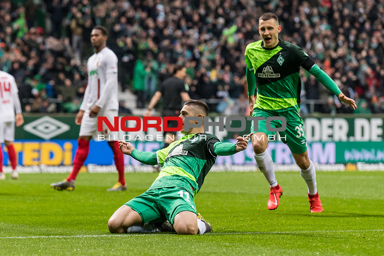 10.02.2019, Weserstadion, Bremen, GER, 1.FBL, Werder Bremen vs FC Augsburg<br /> <br /> DFL REGULATIONS PROHIBIT ANY USE OF PHOTOGRAPHS AS IMAGE SEQUENCES AND/OR QUASI-VIDEO.<br /> <br /> im Bild / picture shows<br /> Jubel 1:0, Milot Rashica (Werder Bremen #11) bejubelt seinen Treffer zum 1:0 mit Maximilian Eggestein (Werder Bremen #35), <br /> <br /> Foto &copy; nordphoto / Ewert