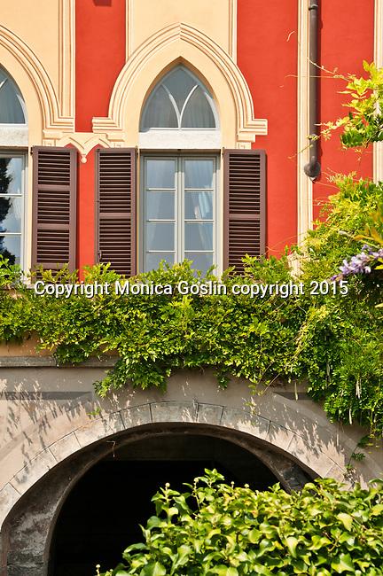 Villa d'Este hotel gardens in the town of Cernobbio on Lake Como, Italy. The villa was originally built as the 16th century summer residence of the Cardinal of Como
