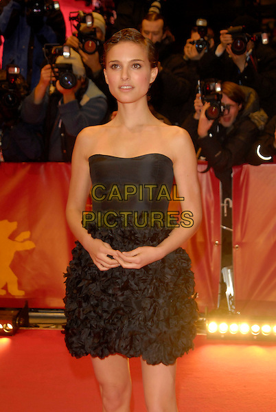 "NATALIE PORTMAN.Premiere of ""V for Vendetta"" at the 56th Berlin (Berlinale) Film Festival, Berlin, Germany..February 13th, 2006.Ref: KRA.half length black strapless dress ruffles gathered.www.capitalpictures.com.sales@capitalpictures.com.©Capital Pictures"