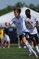Michael Stephens (14) of the USA celebrates scoring the game winning goal. The US U-20 Men's National Team defeated the U-20 Men's National Team of Costa Rica 2-1 in an international friendly during day four of the US Soccer Development Academy  Spring Showcase in Sarasota, FL, on May 25, 2009.