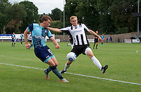Dayle Southwell of Wycombe Wanderers puts in a cross during the Friendly match between Maidenhead United and Wycombe Wanderers at York Road, Maidenhead, England on 30 July 2016. Photo by Alan  Stanford PRiME Media Images.