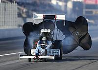 Feb 7, 2020; Pomona, CA, USA; NHRA top fuel driver Jim Maroney during qualifying for the Winternationals at Auto Club Raceway at Pomona. Mandatory Credit: Mark J. Rebilas-USA TODAY Sports