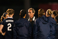 Sky Blue FC head coach Jim Gabarra talks with the team after the match. Sky Blue FC and the Chicago Red Stars played to a 1-1 tie during a National Women's Soccer League (NWSL) match at Yurcak Field in Piscataway, NJ, on May 8, 2013.