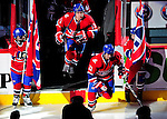 10 April 2010: Montreal Canadiens' left wing forward Mike Cammalleri (13) and right wing forward Brian Gionta (21) set to the ice during pre-game introductions prior to the last game of the regular season against the Toronto Maple Leafs at the Bell Centre in Montreal, Quebec, Canada. The Leafs defeated the Habs 4-3 in sudden death overtime, as the Canadiens advance to the Stanley Cup Playoffs with the single point. Mandatory Credit: Ed Wolfstein Photo