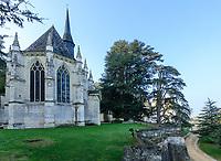France, Indre-et-Loire (37), Rigny-Ussé, château et jardin d'Ussé en octobre, la chapelle et cèdres du Liban remarquables (Cedrus libani) offert en 1808 à la duchesse de Duras par Chateaubriand