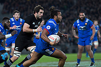 France's Teddy Thomas in action during the Steinlager Series international rugby match between the New Zealand All Blacks and France at Eden Park in Auckland, New Zealand on Saturday, 9 June 2018. Photo: Dave Lintott / lintottphoto.co.nz