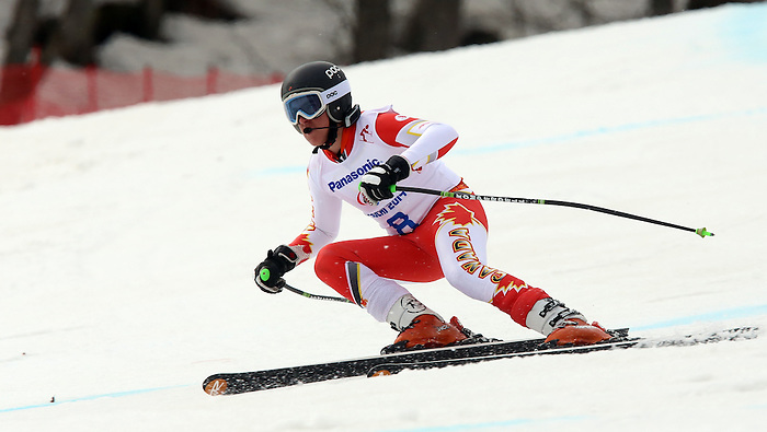 Sochi, Russia,09/03/2014. Canadian Mac Marcoux competes in the men's Super G, visually impared event at the 2014 Paralympic Winter Games in Sochi, Russia.(Photo:Scott Grant/Canadian Paralympic Committee)