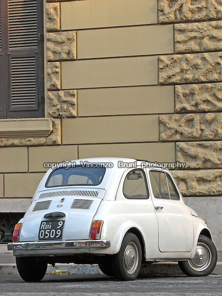 Rear view of a 1960's Fiat Cinquecento vintage car.