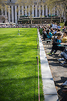 Visitors to Bryant Park in New York line up at the closed lawn during their lunch hours on Wednesday, april 24, 2013.  (© Richard B. Levine)