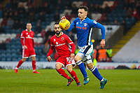 Rochdale's Ollie Rathbone (right) during the Sky Bet League 1 match between Rochdale and Walsall at Spotland Stadium, Rochdale, England on 23 December 2017. Photo by Juel Miah / PRiME Media Images.