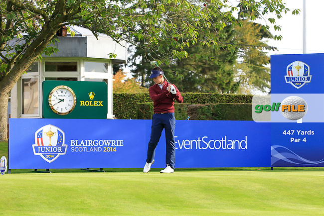 Gordan Neale (USA) on the 1st tee during Day 2 Singles for the Junior Ryder Cup 2014 at Blairgowrie Golf Club on Tuesday 23rd September 2014.<br /> Picture:  Thos Caffrey / www.golffile.ie
