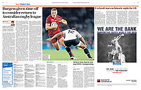 Daily Telegraph 29-Oct-2015 - 'Centre of attention: Sam Burgess's rapid promotion to the England starting XV provoked controversy' - Photo by Rob Newell (Action Foto Sport)