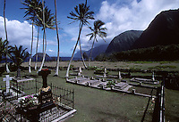 Father Damien's tombstone at the St. Philomena Church on the Hawaiian island of Molokai in 1995.