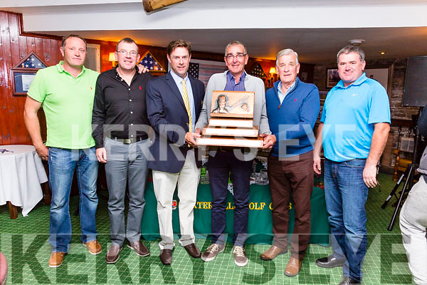 The final Major of the year for Kerry Golf was held in Waterville at the weekend with golfers traveling from the US and England to compete for the Charlie Chaplin Am-Am trophy, and for the second year in a row the prize went to team captain Sean O'Shea pictured here at the presentation were l-r; Paddy Ennis(7), Eoin Ryan(9), Aidan O'Connell Captain WGC, Sean O'Shea(18), Tommy O'Sullivan(Event Organiser) & Paul Corcoran(11).