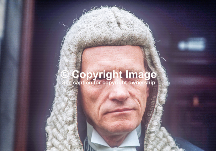 Sir John MacDermott, High Court Judge, N Ireland, member, Privy Council, son of former N Ireland, Lord Chief Justice, November, 1987, 198702222<br />