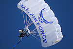 November 7, 2015 - Colorado Springs, Colorado, U.S. - An Air Force Academy Wings of Blue skydiver flies into the stadium prior to the NCAA Football game between the Army Black Knights and the Air Force Academy Falcons at Falcon Stadium, U.S. Air Force Academy, Colorado Springs, Colorado.  Air Force defeats Army 20-3.