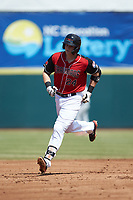 Sam Huff (24) of the Hickory Crawdads rounds the bases after hitting a home run against the Lakewood BlueClaws at L.P. Frans Stadium on April 28, 2019 in Hickory, North Carolina. The Crawdads defeated the BlueClaws 10-3. (Brian Westerholt/Four Seam Images)