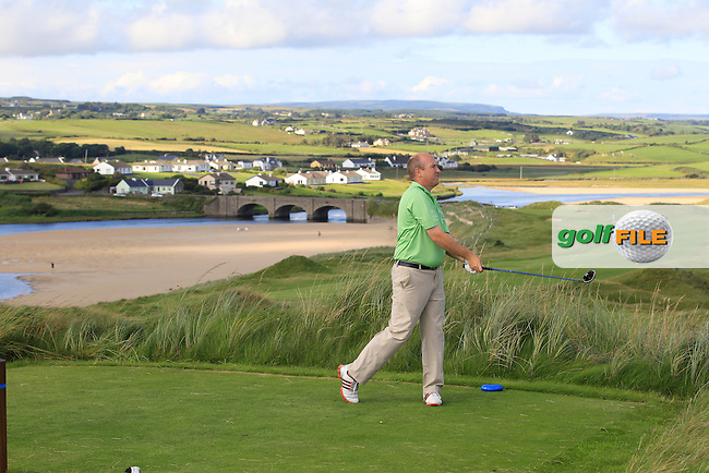 Joe Lyons (Galway) on the 9th tee during Round 1 of The South of Ireland in Lahinch Golf Club on Saturday 26th July 2014.<br /> Picture:  Thos Caffrey / www.golffile.ie