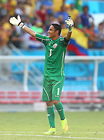 Costa Rica goalkeeper Keylor Navas celebrates at full time
