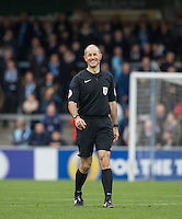 Referee Graham Horwood smiles during the Sky Bet League 2 match between Wycombe Wanderers and Barnet at Adams Park, High Wycombe, England on 22 October 2016. Photo by Andy Rowland.