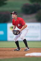Kannapolis Intimidators first baseman Toby Thomas (5) on defense against the Lakewood BlueClaws at CMC-Northeast Stadium on May 16, 2015 in Kannapolis, North Carolina.  The BlueClaws defeated the Intimidators 9-7.  (Brian Westerholt/Four Seam Images)