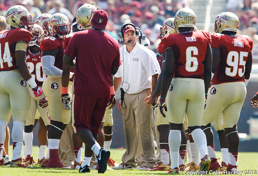 TALLAHASSEE, FLA.10-05-13-FSU-MARY100513CH-Florida State's Defensive Coordinator Jeremy Pruitt talks with his squad during a break against Maryland during first half action Saturday at Doak Campbell Stadium in Tallahassee. <br /> COLIN HACKLEY PHOTO
