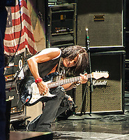 Joe Perry of Aerosmith performing at The Boston Garden, July 17, 2012.