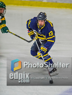 21 February 2015:  Merrimack College Warrior Forward Brett Seney, a Freshman from London, Ontario, in first period action against the University of Vermont Catamounts at Gutterson Fieldhouse in Burlington, Vermont. The teams played to a scoreless tie as the Cats wrapped up their Hockey East regular home season. Mandatory Credit: Ed Wolfstein Photo *** RAW (NEF) Image File Available ***