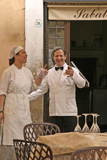 Chef and waiter,Sabatini Restaurant,Rome,Italy, Trastevere.