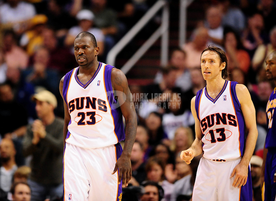Mar. 12, 2010; Phoenix, AZ, USA; Phoenix Suns forward (23) Jason Richardson and guard (13) Steve Nash against the Los Angeles Lakers at the US Airways Center. The Lakers defeated the Suns 102-96. Mandatory Credit: Mark J. Rebilas-