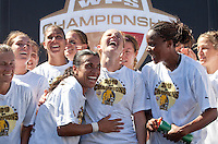 Marta (left) Rachel Buehler (center) Kandace Wilson (right) celebrate after the game. FC Gold Pride defeated the Philadelphia Independence 4-0 to win the 2010 WPS Championship at Pioneer Stadium in Hayward, California on September 26th, 2010.