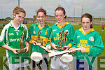 HURLING: The individual girls winners of the Primary School Hurling Skills Finals at Austin Stack Park on Saturday l-r: Sarah Tracey (Ballyduff 2nd place), Julianne O'Keeffe (Lixnaw 3rd place), Jessica Fitzell (Kilmoyley 1st place) and Kristen Curran (Kilmoyley 4th place).