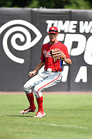Cameron Simmons (53) of Spring-Ford High School in Royersford, Pennsylvania playing for the Philadelphia Phillies scout team during the East Coast Pro Showcase on August 1, 2014 at NBT Bank Stadium in Syracuse, New York.  (Mike Janes/Four Seam Images)
