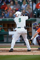 Harris Yett (8) of the Charlotte 49ers at bat against the Clemson Tigers at BB&T BallPark on March 26, 2019 in Charlotte, North Carolina. The Tigers defeated the 49ers 8-5. (Brian Westerholt/Four Seam Images)