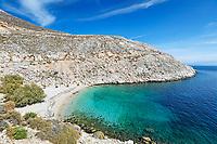 The beach Glaroi in Chios island, Greece
