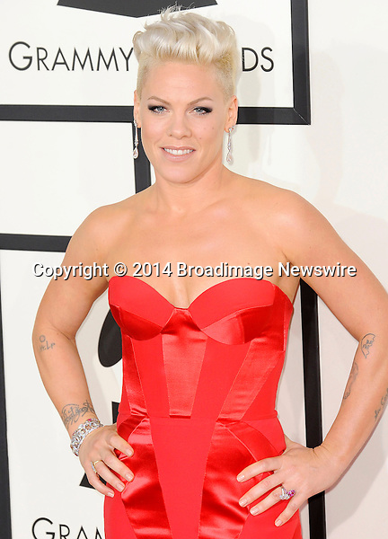 Pictured: Pink<br /> Mandatory Credit &copy; Adhemar Sburlati/Broadimage<br /> The Grammy Awards  2014 - Arrivals<br /> <br /> 1/26/14, Los Angeles, California, United States of America<br /> <br /> Broadimage Newswire<br /> Los Angeles 1+  (310) 301-1027<br /> New York      1+  (646) 827-9134<br /> sales@broadimage.com<br /> http://www.broadimage.com