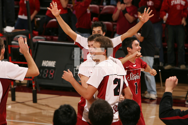 STANFORD, CA - JANUARY 30:  Spencer McLachlin of the Stanford Cardinal during Stanford's 3-2 win over the Long Beach State 49ers on January 30, 2009 at Maples Pavilion in Stanford, California. Also pictured are Gus Ellis, Kawika Shoji, and Erik Shoji.