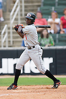 Xavier Avery #1 of the Delmarva Shorebirds follows through on his swing versus the Kannapolis Intimidators at Fieldcrest Cannon Stadium July 5, 2009 in Kannapolis, North Carolina. (Photo by Brian Westerholt / Four Seam Images)