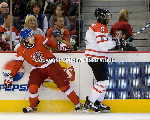 Petr Strapac (Czech Republic - 27), PK Subban (Canada - 5) - Team Canada defeated the Czech Republic 8-1 on the evening of Friday, December 26, 2008, at Scotiabank Place in Kanata (Ottawa), Ontario during the 2009 World Juniors U20 Championship.