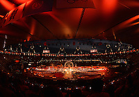 August 12, 2012..British Landmarks made wrapped in news paper is on display at the beginning of closing ceremony at the Olympic Stadium on the last day of 2012 Olympic Games in London, United Kingdom.