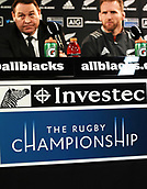 9th September 2017, Yarrow Stadium, New Plymouth. New Zealand; Supersport Rugby Championship, New Zealand versus Argentina; Steve Hansen and Kieran Read at the post match press conference
