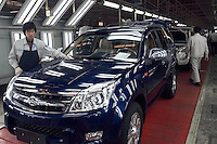 Assembly line of Hover CUV, a new exportation type of Baoding Great Wall (Changcheng) Automobile, one of China's largest producers of pickup trucks and SUVs. Changcheng exported 10,162 units vehicles in the first 9 months of 2005. The company is listed on the Hong Kong Stock Exchange..