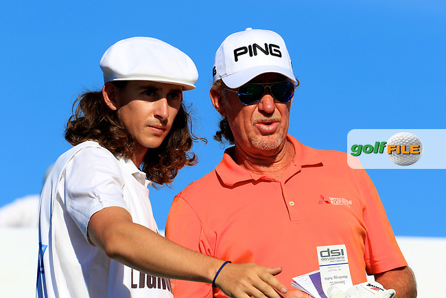 Miguel Angel Jimenez (ESP) with his caddie and son Victor during the first round of the Lyoness Open powered by Organic+ played at Diamond Country Club, Atzenbrugg, Austria. 8-11 June 2017.<br /> 08/06/2017.<br /> Picture: Golffile | Phil Inglis<br /> <br /> <br /> All photo usage must carry mandatory copyright credit (&copy; Golffile | Phil Inglis)