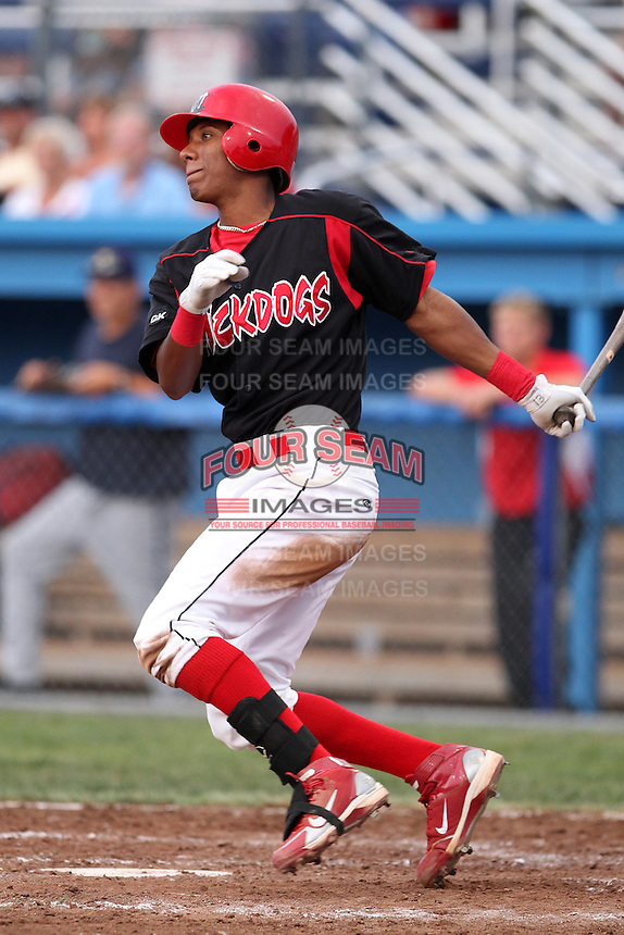 Batavia Muckdogs shortstop Cesar Valera #14 during a game against the State College Spikes at Dwyer Stadium on July 7, 2011 in Batavia, New York.  Batavia defeated State College 16-3.  (Mike Janes/Four Seam Images)
