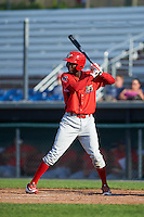 Williamsport Crosscutters right fielder Juan Luis (17) at bat during a game against the Auburn Doubledays on June 26, 2016 at Falcon Park in Auburn, New York.  Auburn defeated Williamsport 3-1.  (Mike Janes/Four Seam Images)