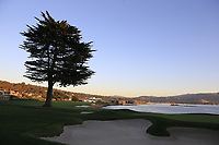 Sunset over the 18th hole at Pebble Beach course during Friday's Round 2 of the 2018 AT&amp;T Pebble Beach Pro-Am, held over 3 courses Pebble Beach, Spyglass Hill and Monterey, California, USA. 9th February 2018.<br /> Picture: Eoin Clarke | Golffile<br /> <br /> <br /> All photos usage must carry mandatory copyright credit (&copy; Golffile | Eoin Clarke)