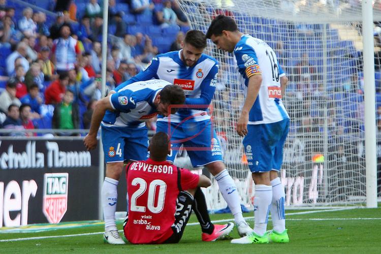 League Santander 2016/2017. Game: 31.<br /> RCD Espanyol vs Deportivo Alaves: 1-0.<br /> Victor Sanchez, Deyverson, David Lopez &amp; Javi Lopez.