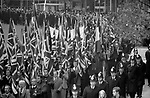 National Front extreme right wing political party 1976 UK march on Remembrance Day through the centre of London to the The Cenotaph   war memorial on Whitehall 1970s UK
